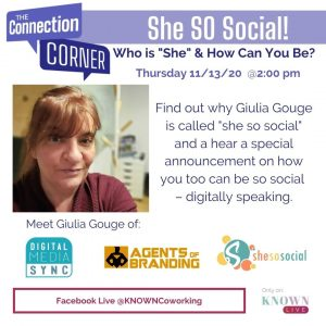 Connection Corner episode on 11/13/20 with Giulia Gouge
